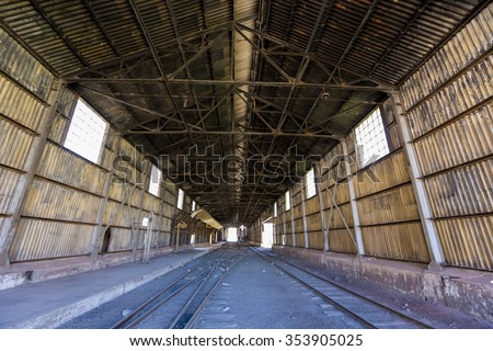 Inside old abandoned train station and railroad tracks along ruta 7 in the Andean Mountains at the border with Argentina and Chile.
