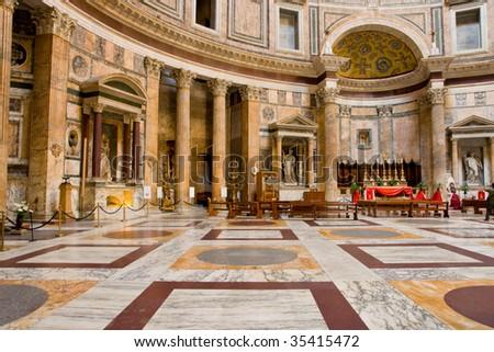 Inside pantheon - stock photo