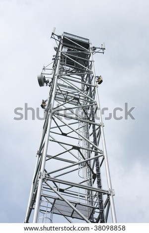 Inside perspective of a tall communications tower - stock photo