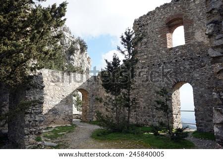 Inside ruins of Buffavento castle near Nicosia, North Cyprus                                - stock photo