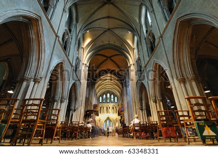 Inside St. Patrick's Cathedral in Dublin, Ireland. - stock photo