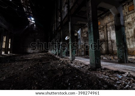Inside the abandoned power plant. Low light captures made specially for feeling atmosphere of dereliction, abandonment and sense of fear.