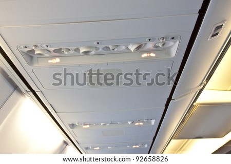 inside the airplane - stock photo