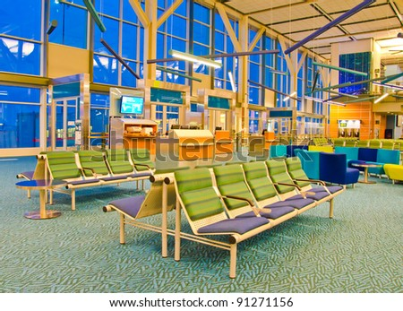Inside the airport terminal in Vancouver - stock photo