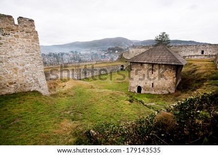 Inside the ancient stone fortress with towers in the Bosnian city Jajce in Bosnia and Herzegovina.  - stock photo