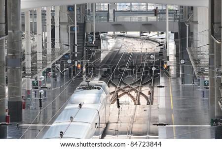 Inside the Atocha Train Station - Madrid (Spain). - stock photo