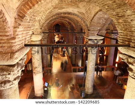 Inside the Basilica Cistern in Istanbul (motion blur due to long exposure) - stock photo