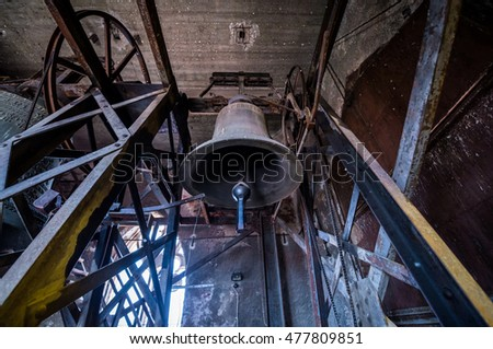 Inside the bell tower of Saint Mary Lutheran Cathedral in Sibiu city in Romania