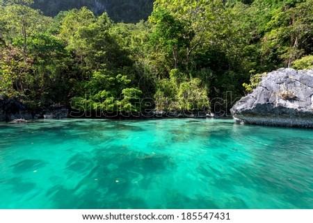 Inside the big lagoon of the Miniloc island, El Nido, Philippines - stock photo