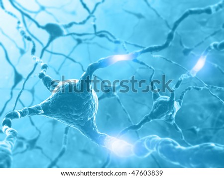 Inside the brain. Concept of neurons and nervous system. Two neurons transmitting information. - stock photo