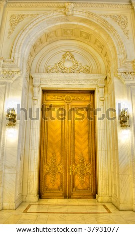 Inside the building of Parliament Palace in Bucharest Romania
