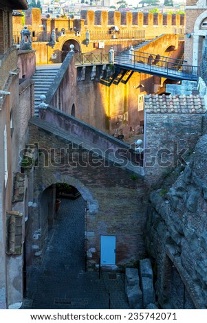 Inside the Castel Sant`Angelo at sunset in Rome, Italy - stock photo