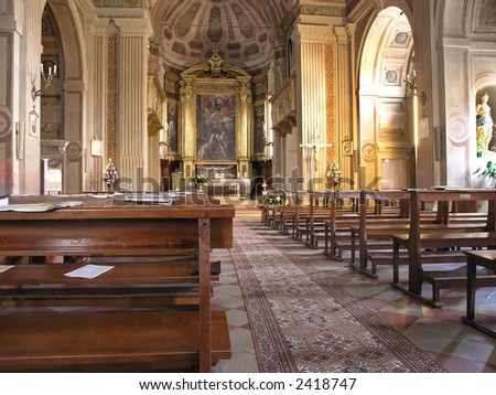 Inside the church at the Rimini, Italy - stock photo