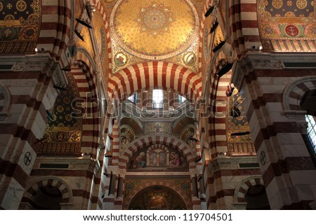 inside the church, cathedral marseilles, france candles with flame - stock photo