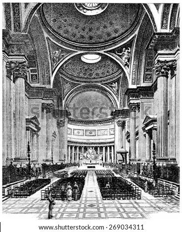 Inside the Church of the Madeleine, vintage engraved illustration. Paris - Auguste VITU  1890. - stock photo