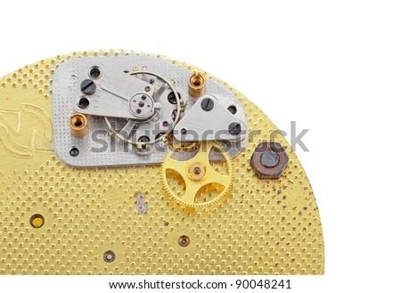 Inside the clock (clockworks), antique vintage clock mechanism - stock photo