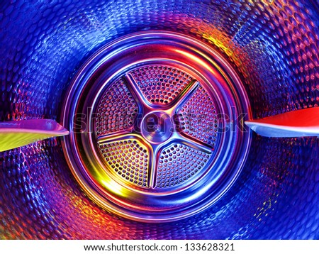 Inside the clothes dryer. - stock photo