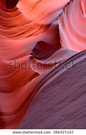 inside the colorful lower antelope canyon, near page,  arizona - stock photo