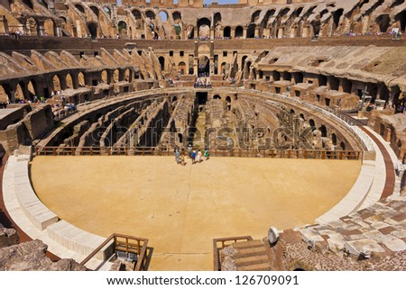 Inside the Colosseum - stock photo