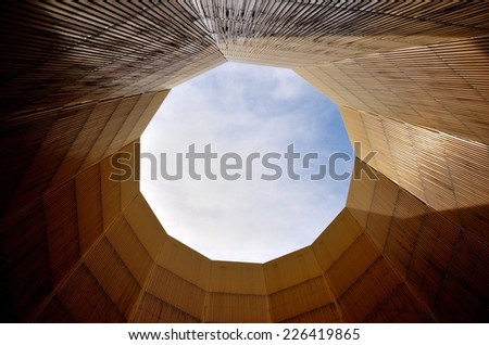 Inside the cooling tower in power station - stock photo