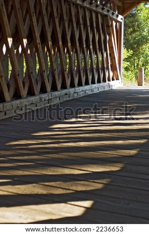 Inside the Covered Bridge - View from inside historic covered bridge in Gettysburg Pennsylvania - stock photo