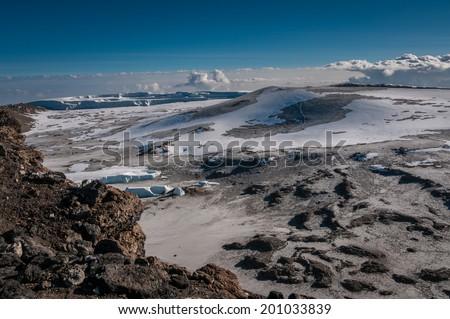Inside the crater rim, Kilimanjaro - stock photo