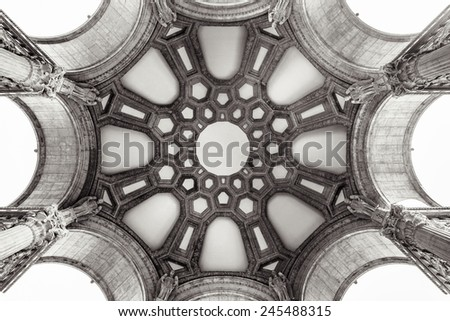 Inside the dome of the Palace of Fine Arts in San Francisco, California. - stock photo