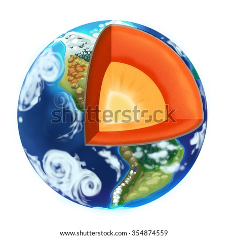 Inside the Earth. Illustration isolated on white background - stock photo