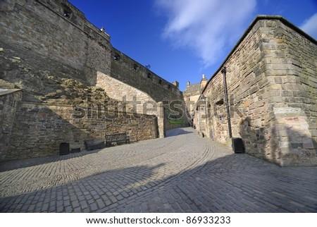 Inside the Edinburgh castle, UK - stock photo