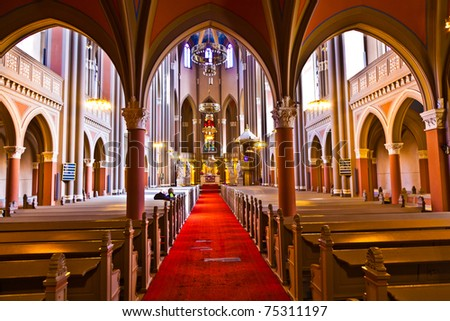 inside the famous Markt Kirche in Wiesbaden, a brick building in neo-Gothic style - stock photo