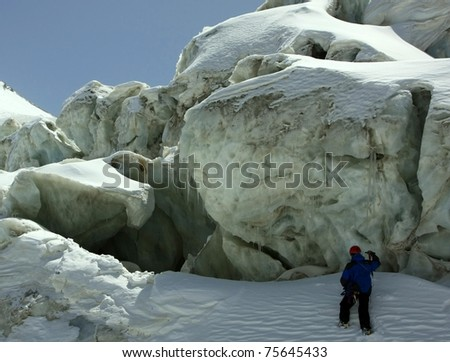inside the glacier - stock photo