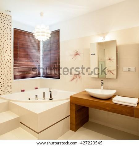 Inside the luxury stylish bathroom - stock photo