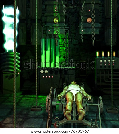Inside the mad Doctors laboratory. Vacuum tubes glowing electricity flowing from vintage science fiction devices. Frankenstein strapped to metal table beginning reanimation. Original illustration - stock photo