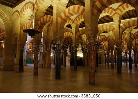 Inside the Mezquita in Cordoba, Spain - stock photo