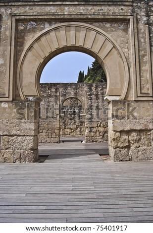 Inside the military house of Medina Azahara - stock photo