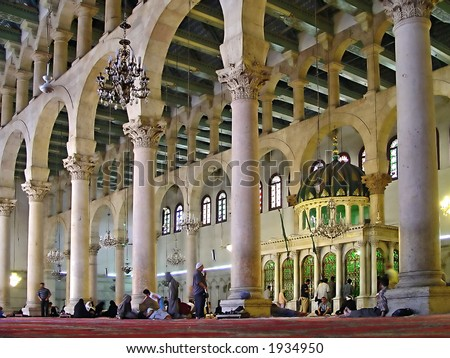Inside The Omayyad Mosque -Damascus, Syria. - stock photo