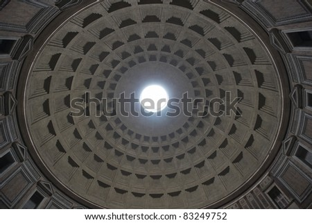 Inside the Pantheon, Rome, Italy. Ancient Roman temple built in 2nd Century AD.