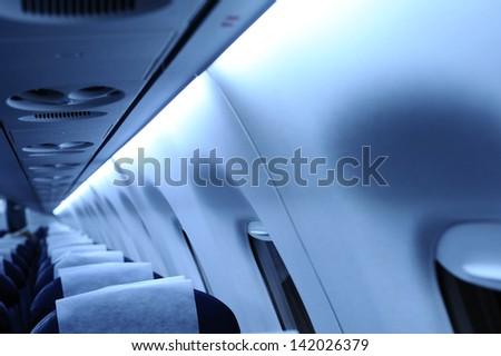 Inside the plane. - stock photo