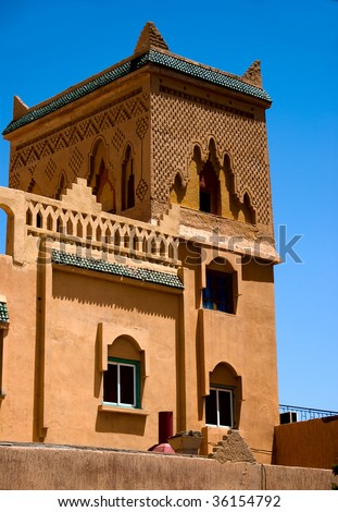 Inside the renovated casbah in Middle Atlas Mountains, Morocco - stock photo