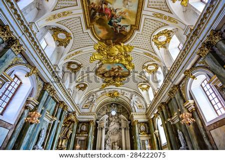 Inside the Royal Chapel (Slottskyrkan) in Stockholm. The chapel is inside the Royal Palace in Gamla Stan. - stock photo