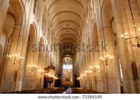 Inside the Saint Sernin cathedral in Toulouse, south France. - stock photo