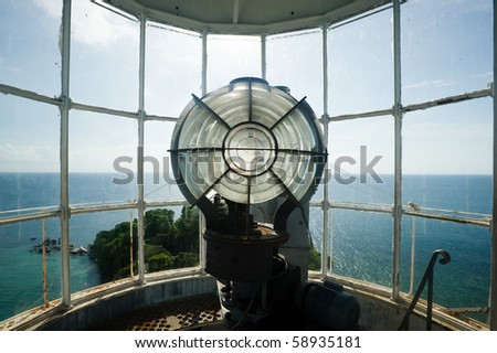 inside the top part of lengkuas island lighthouse - stock photo
