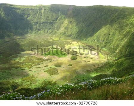 Inside the volcano - stock photo