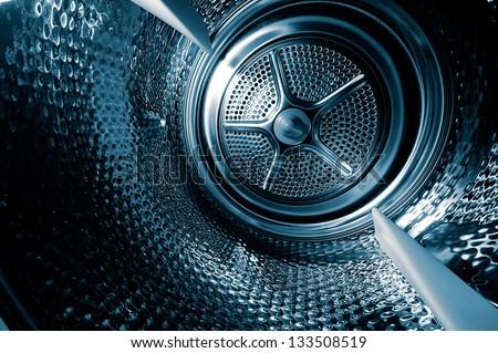 Inside the washing machine - stock photo