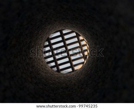 Inside the well - stock photo