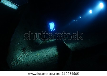 Inside the wreck of the Ghiannis D  in the Red Sea, Egypt