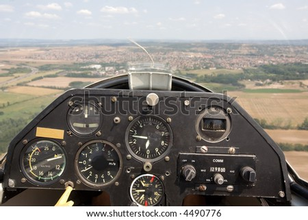inside view in a glider, focus on the cockpit - stock photo