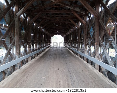 Inside view of a covered bridge, Quebec, Canada - stock photo