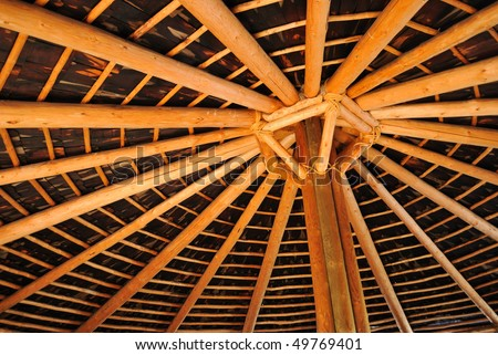 Inside view of a native american hut with center support - stock photo