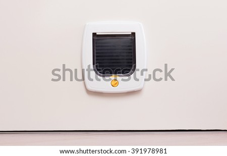 Inside view of a regular white cat flap on a light door, flap closed - stock photo